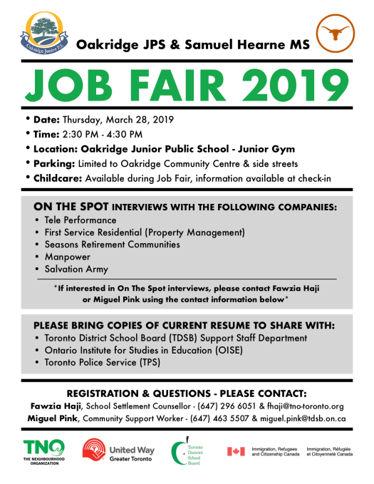 Oakridge JPS & Samuel Hearne MS 2019 Job Fair