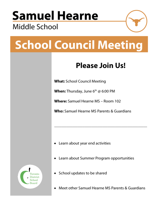 School Council Meeting Flyer - Thursday, June 6, 2019