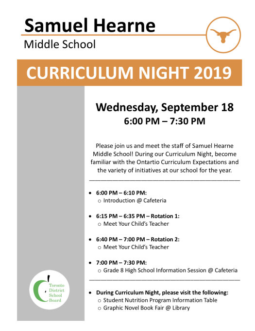 2019-2020 Curriculum Night Flyer