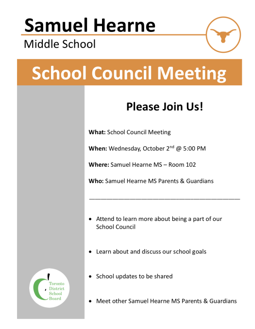 School Council Meeting Flyer - Wednesday, October 2, 2019
