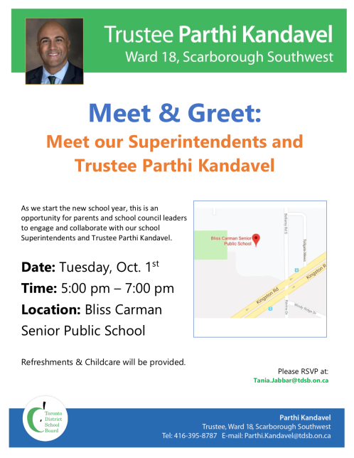 Trustee Kandavel Meet and Greet Tues Oct 1st