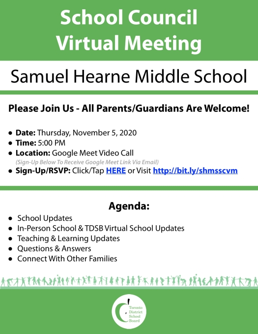 Samuel Hearne MS - School Council Virtual Meeting Flyer