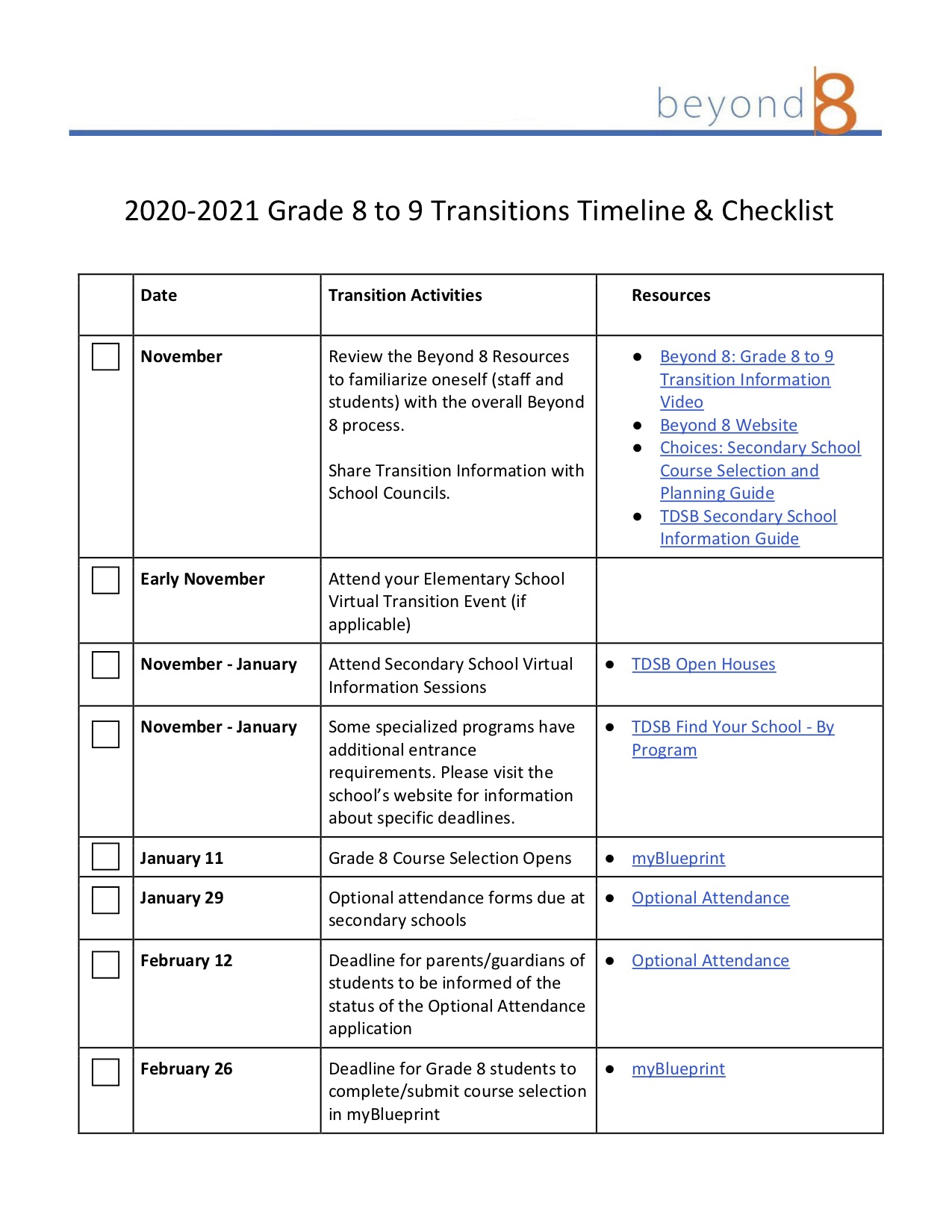 Grade 8 to 9 Transitions Timeline and Checklist