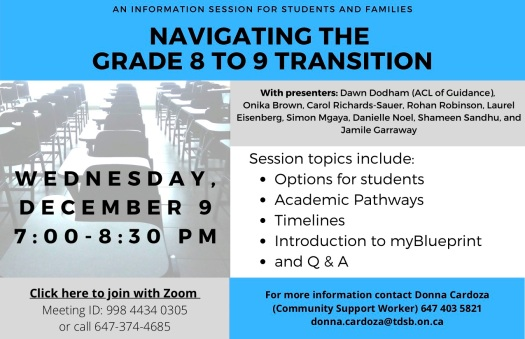 Flyer Grade 8 to 9 transition